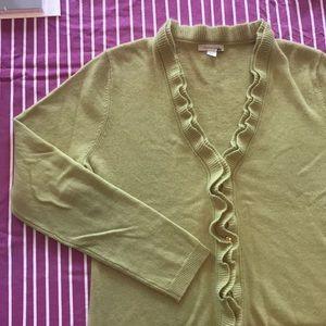 Garnet Hill celery green cashmere cardigan sweater